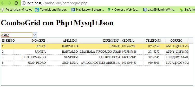 ComboGrid con Jquery+Json+Mysql+jquery easyui (4/5)